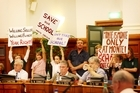 Students from Monte Cecilia Primary School protest over the closure of their school during an Auckland City Council meeting at the Auckland Town Hall. Photo / NZH.
