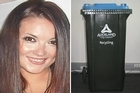 Carmen Thomas and a bin similar to the missing one police believe may hold the key to solving her murder. Photos / Supplied