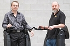 Robert Irving (left) and Richard Little of Rex Bionics with their Robotic Legs that allows paraplegics to walk. Photo / Richard Robinson.