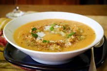 Kumara, lentil and coconut soup. Photo / Babiche Martens