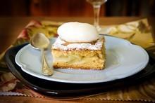 Warm apple shortcake with kumara vodka sorbet. Photo / Babiche Martens