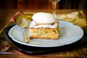 Warm apple shortcake with kumara vodka sorbet. Photo / Babiche Martens