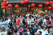 Crowds gather under lanterns at the Chinese Lantern Festival in Auckland's Albert Park. Photo / Paul Estcourt
