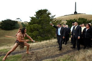 Minister of Maori Affairs Dr Pita Sharples leads a group of dignitaries to sign the Agreement in Principle for Auckland's volcanic cones. Photo / Brett Phibbs