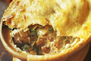 Chicken, leek and tarragon pot pie.  Photo / Greg Bowker