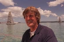 Sir Peter Blake with the Team NZ black boats. Photo / Brett Phibbs