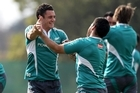 Dan Carter (L) and Piri Weepu dance it up during training at Witwatersrand University. Photo / Getty Images
