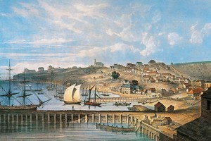A lithograph based on an 1852 painting by P. J. Hogan which shows Commercial Bay, with Fort St on the waterfront and Shortland St behind. Photo / Supplied