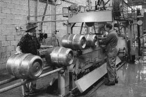 Men at work on steel kegs at the premises of New Zealand Breweries Ltd. Photo / Supplied