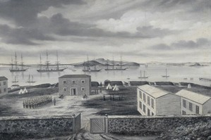 Fort Britomart in 1863 by Sam Stuart. Photo / Auckland City Art Gallery.