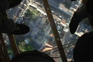 The view from the glass-bottomed hot air balloon.