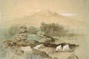 A Maori fishing camp, 1849, watercolour by Charles Heaphy. Photo / Alexander Turnbull Library