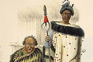 Apihai Te Kawau and his nephew Tamahiki Te Rewiti, 1844. Photo / Alexander Turnbull Library
