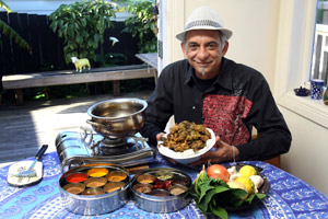 Indian chef Bharat Jamnadas with his creations. Photo / Dean Purcell