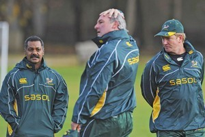 Springboks coaches Peter de Villiers, Gary Gold and Dick Muir. Photo / Getty Images