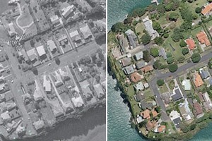 Stanley Point in Devonport in 1963 (left) and 2010. Photos / Google