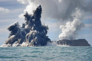 An undersea volcano erupting off the coast of Tonga. Photo / Getty Images