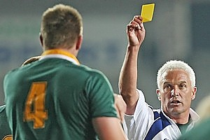 Official figures show the All Blacks incur 43 penalties a yellow card, more than seven times the figure of the Springboks. Photo / Dean Purcell