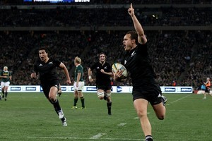 Israel Dagg scores the winning try for the All Blacks. Photo / Getty
