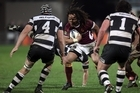 Pehi Te Whare of Southland lines up Bryn Evans and Clint Newland of Hawkes Bay. Photo / Getty Images