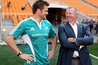 Sean Fitzpatrick talks captaincy with Richie McCaw. Photo / Getty Images