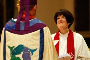 The Reverend Jo Kelly-Moore during her installation as the new Anglican Dean of Auckland. Photo / Brett Phibbs