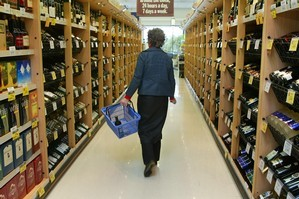 Next time you're in the supermarket wine aisle, look below - and above - eye level. Photo / Nicola Topping