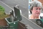 A still from the security footage showing Mary Bale, inset, throwing cat Lola into a wheelie bin.