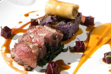 Cobar's Wairarapa lamb cannelloni with crushed urenika potato, cavalo nero, beetroot and carrot. Photo / Mark Mitchell