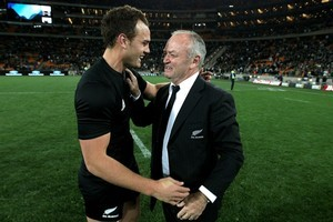 All Blacks' match-winner Israel Dagg is congratulated by coach Graham Henry. Photo / Getty Images