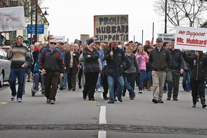 A march in support of Allan Hubbard and his wife Jean proceeded through Timaru's main street today. Photo / Sarah Ivey