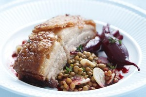 Crispy pork belly with lentils and baby beet. Photo / Supplied