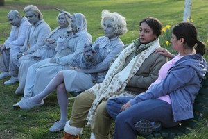 Mrs Sethi (second right) with her daughter Roopi (right) and other ghostly companions. Photo / Supplied