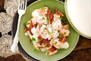 Warm salmon and potato salad. Photo / Babiche Martens