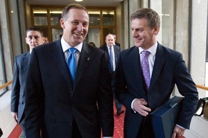 Finance Minister Bill English (right), with Prime Minister John Key. Photo / Mark Mitchell