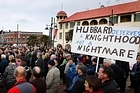 A march in support of Allan Hubbard and his wife Jean in Timaru. Photo / Sarah Ivey
