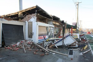 Damage to shops on Hills Road, Richmond. Photo / Geoff Sloan.