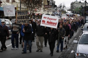Hubbard supporters march down the streets of Timaru. Photo / Sarah Ivey