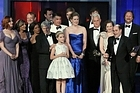 The cast of <i>Mad Men</i> on stage to accept the Outstanding Drama Emmy. Photo / AP