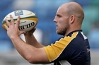 Stephen Moore holds the ball during a Wallabies training session. Photo / Getty Images