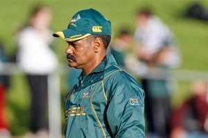 Peter de Villiers says his side supports murder-accused Bulls prop Bees Roux 100 percent. Photo / Richard Robinson