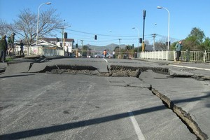 Road damage from the Christchurch earthquake. Photo / Allana Amstad.