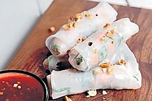 Prawn and mint finger rolls.