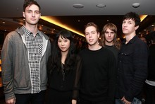 L to R , Naked and Famous : Jesse Wood, Alisa Xayalith, Tom Powers, David Beadle and Aaron Short, Photo / Herald on Sunday.