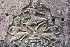 The role of numerous carved women at the temple of Angkor Wat has experts puzzled. Photo / Supplied