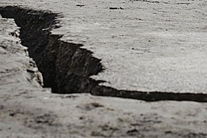 Large cracks in the earth after the 7.1 earthquake. Aftershocks continue to rock Christchurch, Photo / Sarah Ivey