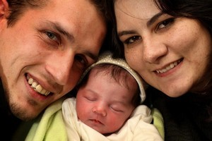 Evert and Maruschke Barnard with their daughter Dianthe, who was born during the earthquake. Photo / Alan Gibson