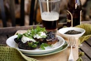 Field mushrooms with buffalo mozzarella and smoked kelp. Photo / Babiche Martens