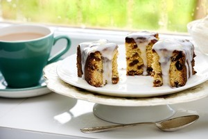 Grandma's sultana cake with lemon icing. Photo / Babiche Martens