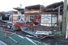 Damage to a building on the corner of Manchester and Worcester Streets in Christchurch.